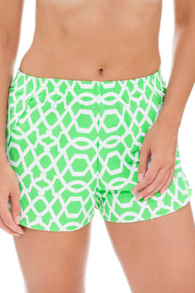 Green and White Shorts Cover Up SS-461