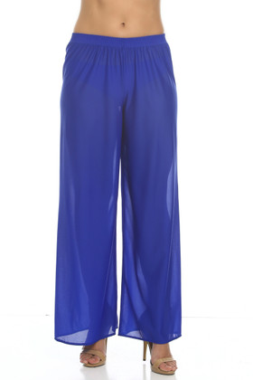 Blue Palazzo Pant Cover Up RY-410