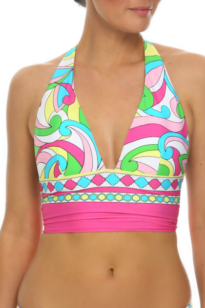 Floral Cup Sized Halter Top RA-169 - Innovative design of this unique fixed wide band halter top combined with cup sizing that offers incredible comfort will be an ideal choice for your vacation.
