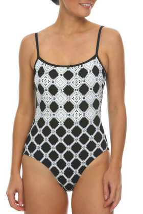 Black and White Strapped Maillot AN-311