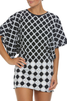 Black and White Tunic Cover Up AN-435