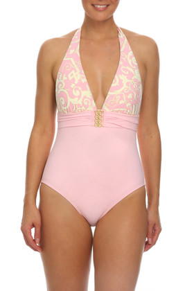 Pink and Cream Halter One Piece EF-339