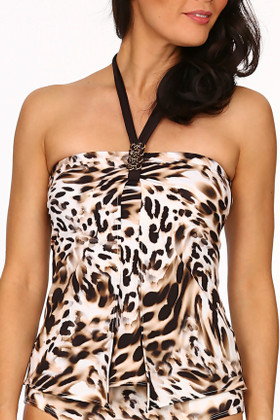 Brown and Cream  Tankini ZI-144