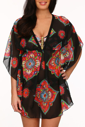 Black and Coral Kaftan Cover Up  MK-417