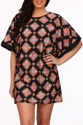 Black And Coral Tunic Cover Up MK-435
