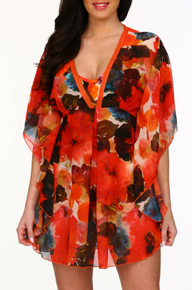 Floral Kaftan Cover Up TA-417