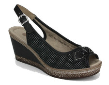 Remonte D4528-02 Ladies Black Wedge Remonte D4528-02 Ladies Black Wedge. It's the practicality and style of this Remonte sandal that makes it perfect for a day at work or a night out. A secured fit is made easy with an adjustable back strap. Paired with a sundress or even a pair of jeans, these shoes are the perfect compliment to any outfit.