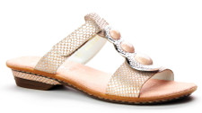 Rieker 63464-31 Womens Metallic Slide This Rieker Slide combines pink and matte silver colours and imitates snakeskin leather. Adjustable with a velcro fastner so they can be adjusted to your instep. The inner footbed is heavily softened. Rieker's footwear is made with special Antistress technology, providing lightweight and flexible footwear, sufficient interior space and shock absorption and shock to the spine while walking.