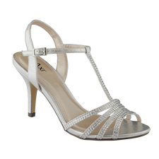 Taxi Gisele 01 Silver Womens Sandal Dressy T-strap sandal with ankle strap