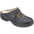 Finn Comfort Stanford Black Leather. Its supple leather upper accents its sweet rounded toe while the Velcro strap makes for the perfect fit.