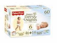 Fisher Price Happy Days & Nights Diapers Sz 6 60ct