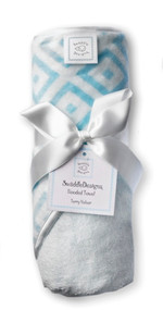 Swaddle Designs Hooded Towel - Very Lt Blue w/Pastel Blue Mod Squares