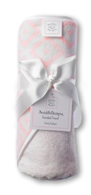 Swaddle Designs Hooded Towel - Very Lt Pink w/Pastel Pink Mod Squares
