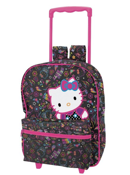 Hello Kitty Neon on Black 16 inch Rolling Backpack - For Moms