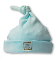 Swaddle Designs  Knotted Hat - Pastel Blue with Mocha Logo - Newborn
