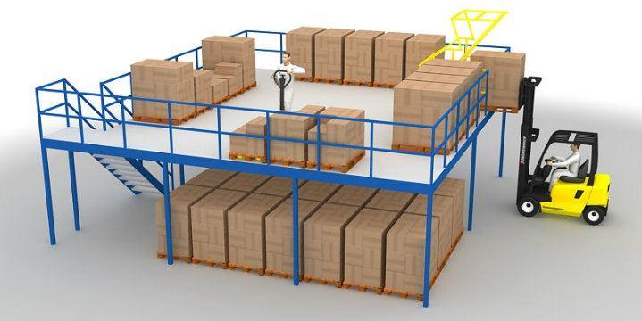 free standing mezzanine floors, raised storage areas for warehouses