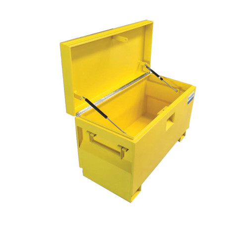 job site yellow steel tool box  - chest