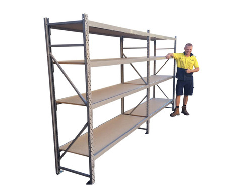 long span shelving - 4 Shelves- 3.6m Wide