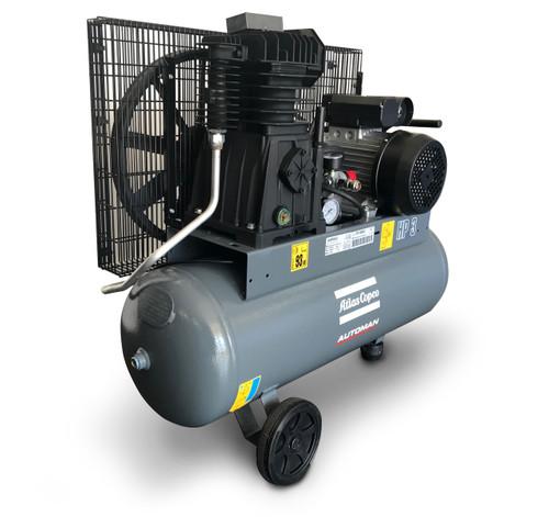 Atlas Copco Piston Air Compressor- 3HP, 12.3CFM, Mobile
