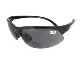 Black Half Frame Sunglass - Gray Bifocal Lenses