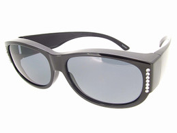 Sunglasses Over Glasses Polarized UV400 Black Frame - Gray Lenses with Crystals
