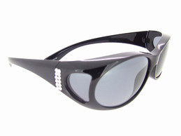 Sunglasses Over Glasses Polarized UV400 Black Frame - Gray Lenses with Crystals On Side