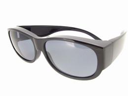 Sunglasses Over Glasses Polarized UV400 Black Frame - Gray Lenses