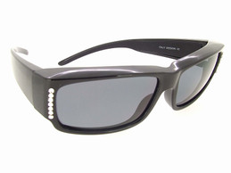 Sunglasses For Glasses with Swarovski Crystals and Black Frame