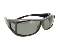 Sunglasses Over Glasses Shiny Black Frame - Gray Polarized Lenses