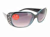 Bifocal Sunglasses Clear Blue Frame Gray Lenses