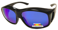 Sunglasses Over Glasses Black Frame - Blue Mirror Face Gray UV400 Polarized Lenses