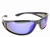 Polarized Sunglasses Blue Mirrored Lenses Black Frame