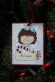 Brown Hair Angel with Candy Cane Christmas Ornament with Tag