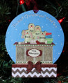 Gingerbread Family of 4 Making Cookies Personalized Christmas Ornament