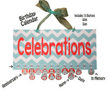 Aqua and Tangerine Celebrations Birthday Calendar