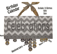 Chevron Mustard and Gray Celebrations Birthday Calendar