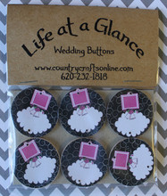Package of 6 Wedding Buttons, Wires included