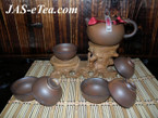 Tea Set - Handmade Rough Ceramic, Chinese Style - 1 Teapot, 6 Cups