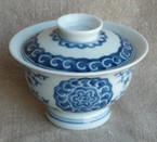 "Jingdezhen Porcelain Gaiwan ""Mudan"" Blue on White - 125ml cap."