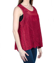 Love Sam Maddie Embroidered Tank in Raisin