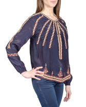 Love Sam Embroidered Blouse in Navy