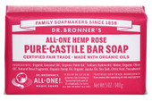 Dr Bronner's Rose Pure Castile Bar Soap 140 Grams