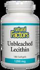 Natural Factors Unbleached Lecithin 1200 mg 180 Softgels