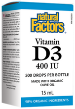 Natural Factors Vitamin D3 Drops 400 IU - 15 ml