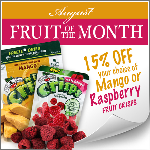 August Fruit of the Month Mango & Raspberry Fruit Crisps