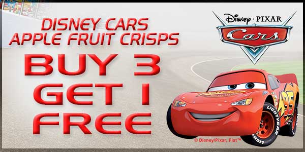 """For a limited time, save big on Disney Cars' Apple Fruit Crisps when you use the code """"VROOM"""" at checkout on BrothersAllNatural.com"""