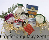 Vermont Gift Basket with Homemade Jams, Maple Drizzle, VT Maple Syrup and VT Cheeses