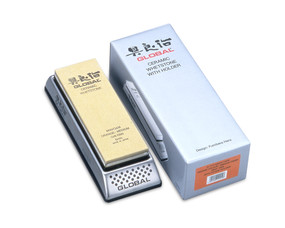 Global G-777/MS5/O+M, Combination G-777 Stainless Steel Whetstone Holder and MS5/O&M Medium 1000 Grit Ceramic Stone
