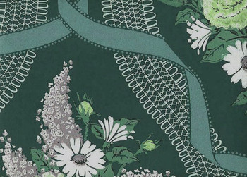 Lilacs,roses,ribbon, and lace on a rich green background