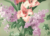 Printed in the Netherlands just after World War 11, this lush floral with vertical glads and lilacs will bring romance to any room.